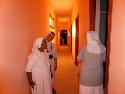 Sr. Josephine, sr. Rachel and sr. Antonietta checking the rooms