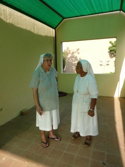 sr. Antonietta and sr. Josephine in the terrace of the sisters' house